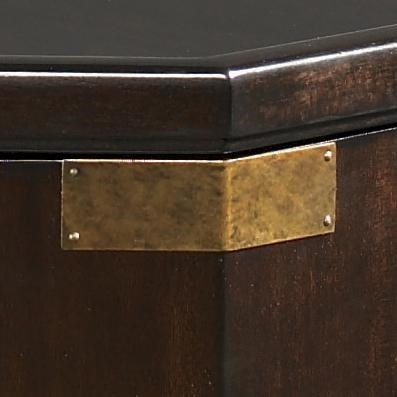 Brass Accents Pop Against the Warm Kona Finish