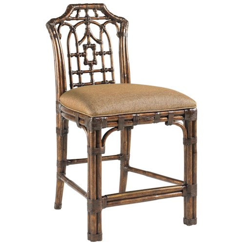 Tommy Bahama Home Royal Kahala Customizable Rattan & Leather Pacific Rim Counter Stool