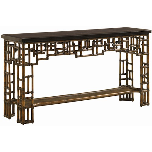 Tommy Bahama Home Royal Kahala Rattan & Leather Mystic Console with Penn Shell Top
