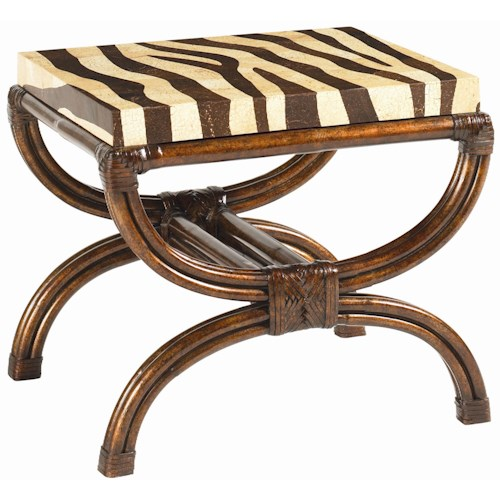 Tommy Bahama Home Royal Kahala Coco Shell Zebra-Print Striped Delight Accent Table