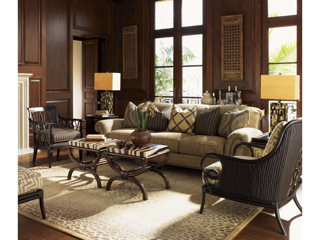 Two Shown with Ginger Chair, Pacific Campaign Accent Table, Edgewater Sofa, and Sumatra Chair