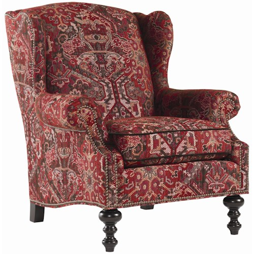 Tommy Bahama Home Royal Kahala Batik Wing Chair with Decorative Nailhead Trim