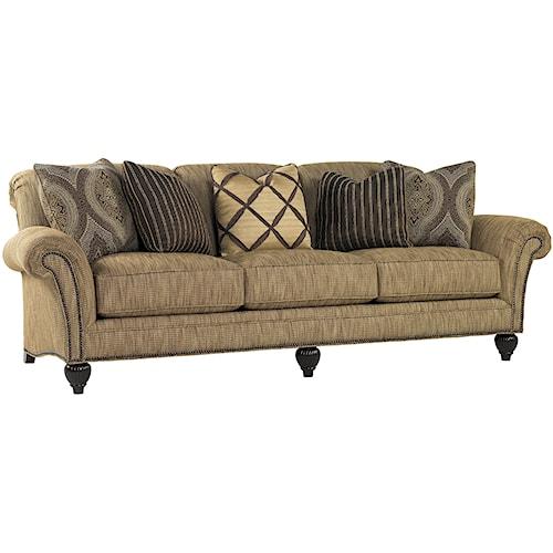 Tommy Bahama Home Royal Kahala Edgewater Rolled Arm Sofa with Nailhead Trim