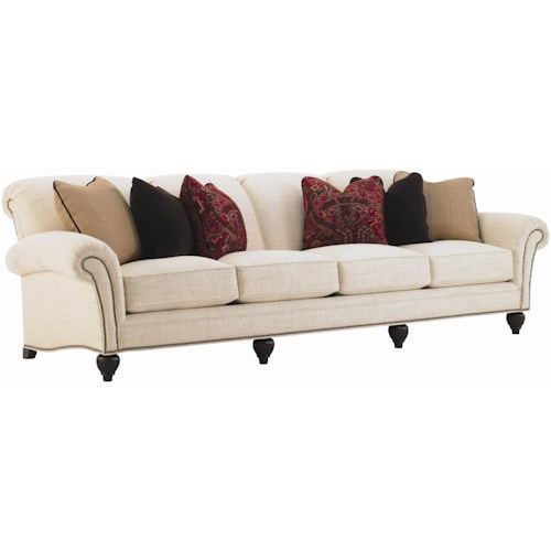Tommy Bahama Home Royal Kahala Edgewater Rolled Arm Extended Sofa with Decorative Nailhead Trim