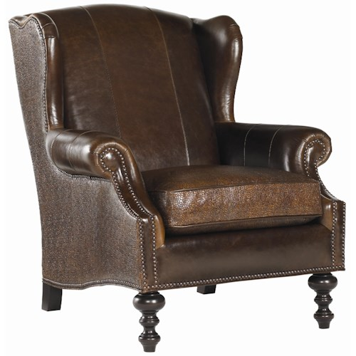 Tommy Bahama Home Royal Kahala Batik Leather Wing Chair with Decorative Nailhead Trim