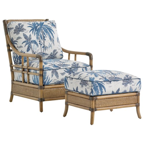 Tommy Bahama Home Twin Palms Seagate Rattan Chair and Ottoman Set