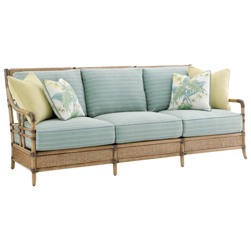 Tommy Bahama Home Twin Palms Seagate Sofa with Woven and Leather-Wrapped Rattan Frame