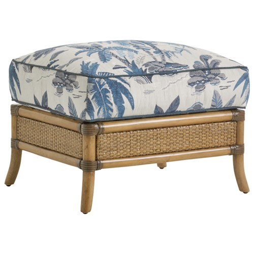 Tommy Bahama Home Twin Palms Seagate Ottoman with Rattan and Bamboo Base