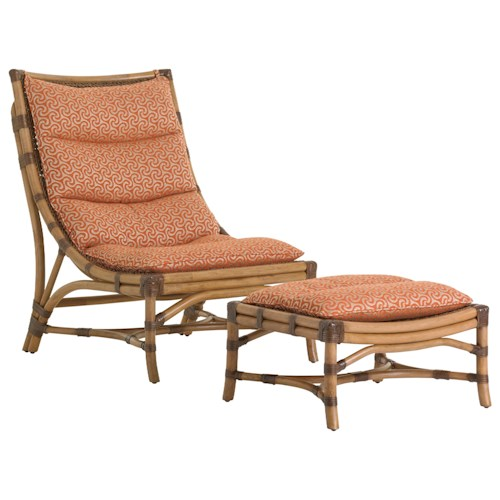 Tommy Bahama Home Twin Palms Hammock Bay Chair and Ottoman Set