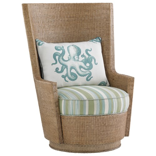 Tommy Bahama Home Twin Palms Lago Mar Rattan Swivel Chair