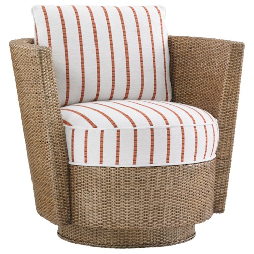 Tommy Bahama Home Twin Palms Tarpon Cay Rattan Swivel Chair
