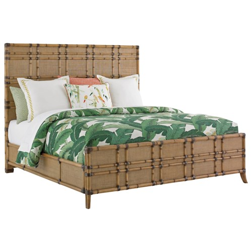 Tommy Bahama Home Twin Palms Queen Size Coco Bay Woven Raffia Panel Bed with Bamboo Carved Frame