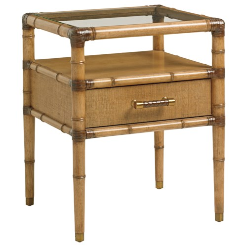 Tommy Bahama Home Twin Palms Bayshore One Drawer Night Table with Glass Top