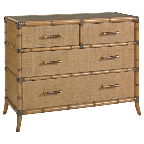 Tommy Bahama Home Twin Palms Raffia Accent Chest with Protective Glass Top