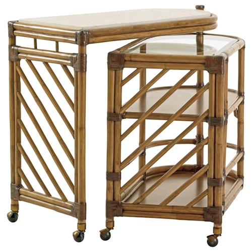 Tommy Bahama Home Twin Palms Cable Beach Nesting Bar Cart with Cordova Stone Top