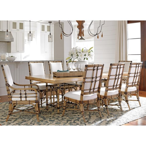 Tommy Bahama Home Twin Palms Nine Piece Dining Set with Caneel Table and Summer Isle Chairs in Sand Dollar Fabric
