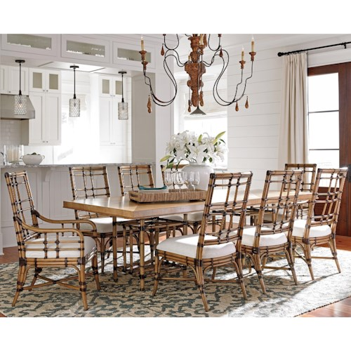 Tommy Bahama Home Twin Palms Nine Piece Dining Set with Caneel Table and Seaview Chairs in Sand Dollar Fabric