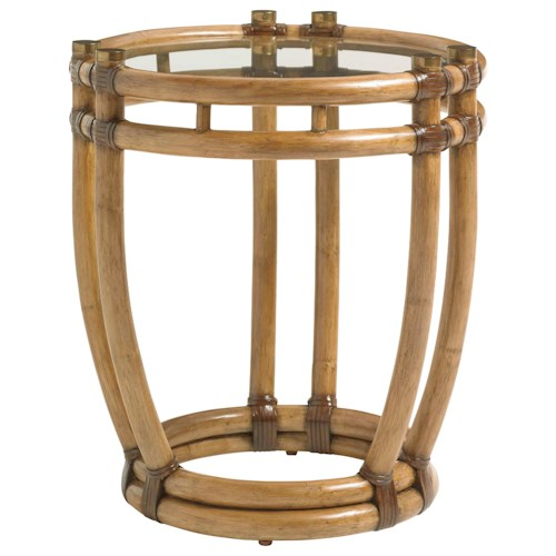 Tommy Bahama Home Twin Palms Turtle Beach Round End Table with Tempered Glass Top