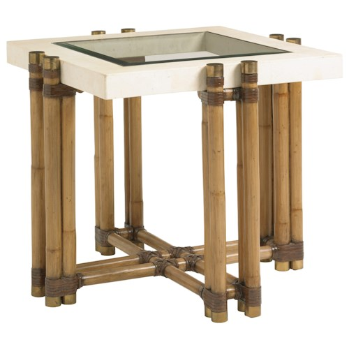 Tommy Bahama Home Twin Palms Los Cabos Rattan Lamp Table with Glass and White Cordova Stone Top