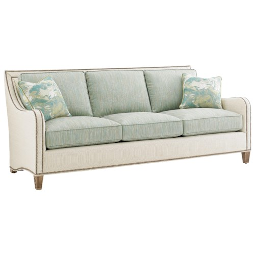 Tommy Bahama Home Twin Palms Koko Sofa with Nailhead Border