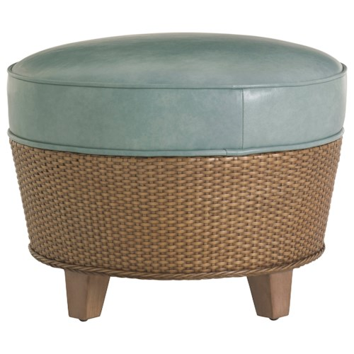 Tommy Bahama Home Twin Palms Lago Mar Round Rattan Ottoman