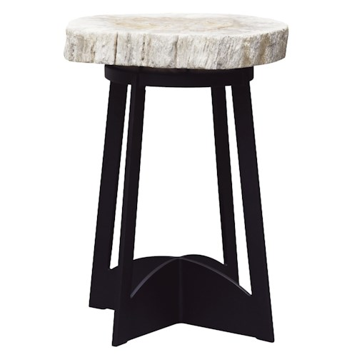 Tommy Bahama Outdoor Living Alfresco Living End Table with Petrified Wood Top and Black Metal Base