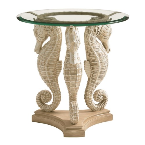 Tommy Bahama Outdoor Living Alfresco Living Sea Horse Table with Tempered Glass Top