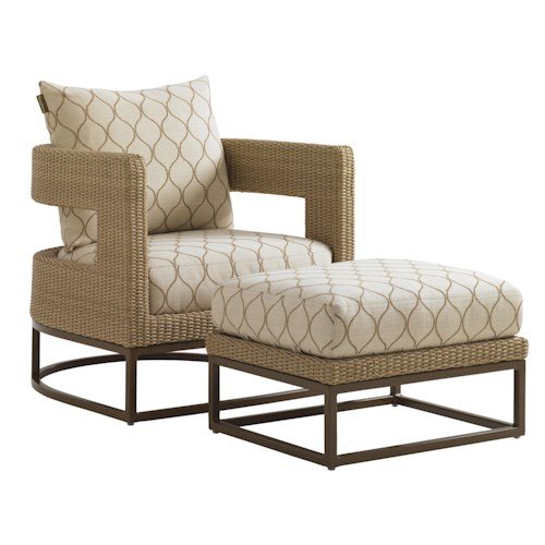 Tommy Bahama Outdoor Living Aviano Outdoor Wicker Chair and Ottoman Set with Mocha-Finished Aluminum Bases