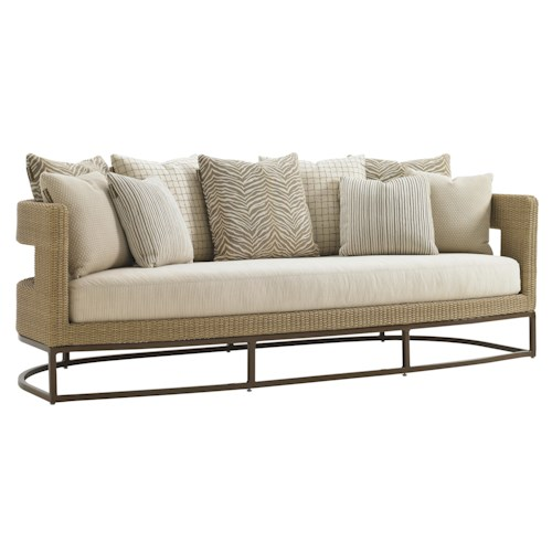 Tommy Bahama Outdoor Living Aviano Outdoor Wicker Sofa with Horizontal Cut-Out Design and Mocha-Finished Aluminum Base