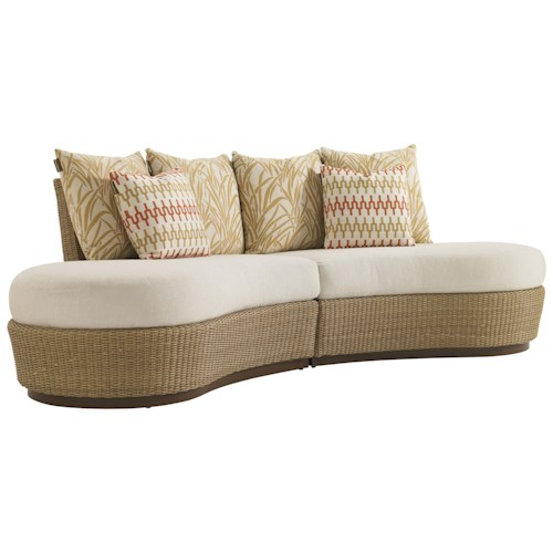 Tommy Bahama Outdoor Living Aviano Outdoor Wicker Armless Kidney Sofa