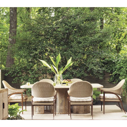 Tommy Bahama Outdoor Living Aviano 7 Piece Outdoor Dining Table Set with Dining Arm Chairs