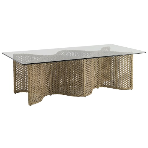 Tommy Bahama Outdoor Living Aviano Outdoor Cocktail Table with Curvy Wicker Base and Rectangular Glass Top