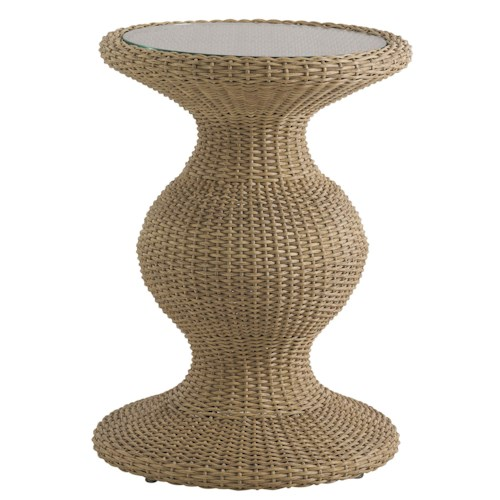 Tommy Bahama Outdoor Living Aviano Round Outdoor Wicker Accent Table with Glass Top Insert and Curvy Base
