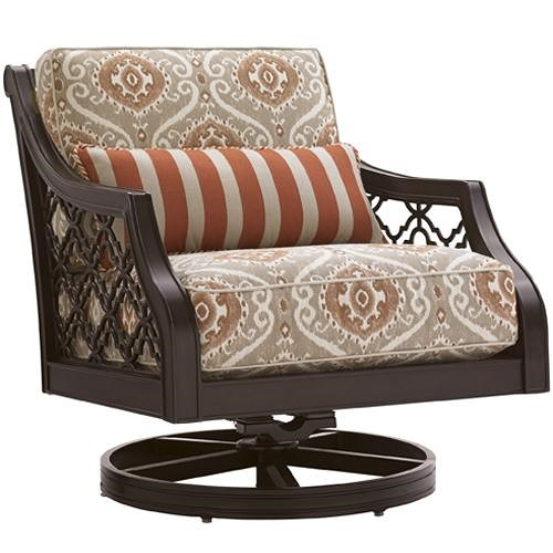 Tommy Bahama Outdoor Living Black Sands Outdoor Swivel Rocker Lounge Chair with Scooped Track Arms