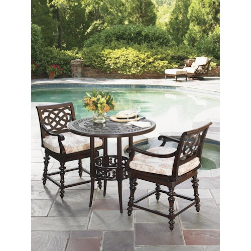 Tommy Bahama Outdoor Living Black Sands Outdoor Bistro Dining Set with 2 Swivel Counter Height Stools