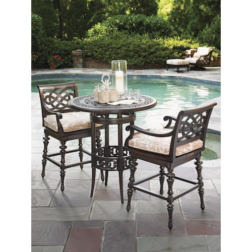 Tommy Bahama Outdoor Living Black Sands Outdoor Bistro Dining Set with 2 Swivel Bar Stools