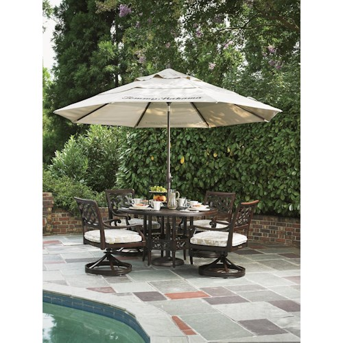 Tommy Bahama Outdoor Living Black Sands Outdoor Dining Set with 4 Swivel Rocker Arm Chairs