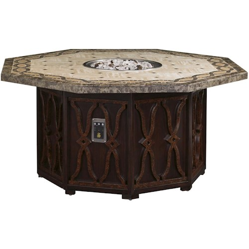 Tommy Bahama Outdoor Living Black Sands Outdoor Gas Fire Pit (Dual Source) with Marble Top