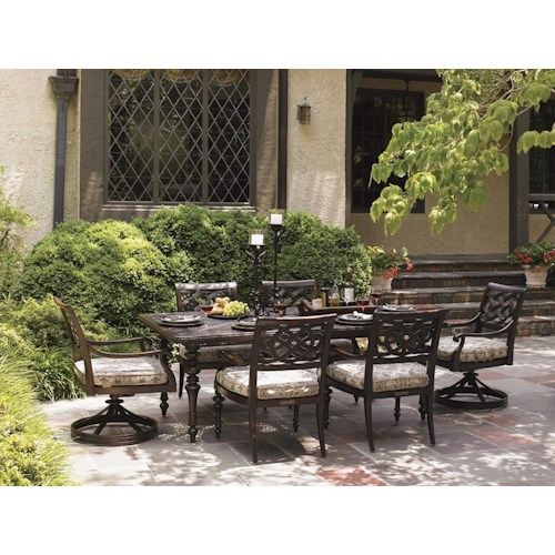 Tommy Bahama Outdoor Living Black Sands Outdoor Dining Set with 6 Arm Chairs