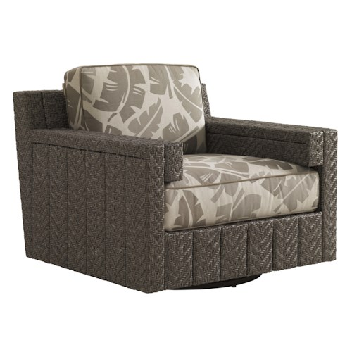 Tommy Bahama Outdoor Living Blue Olive Swivel Glider Chair with Cushion
