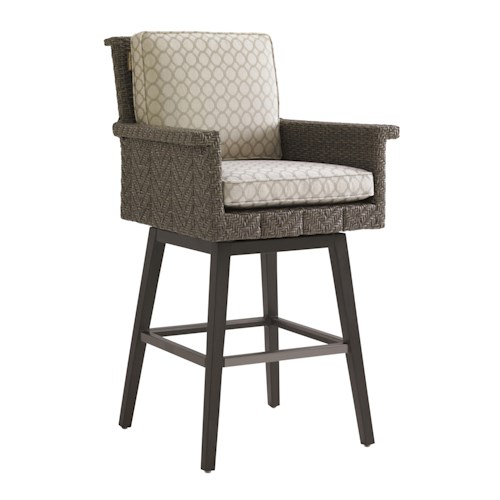 Tommy Bahama Outdoor Living Blue Olive Swivel Bar Stool with Cushion