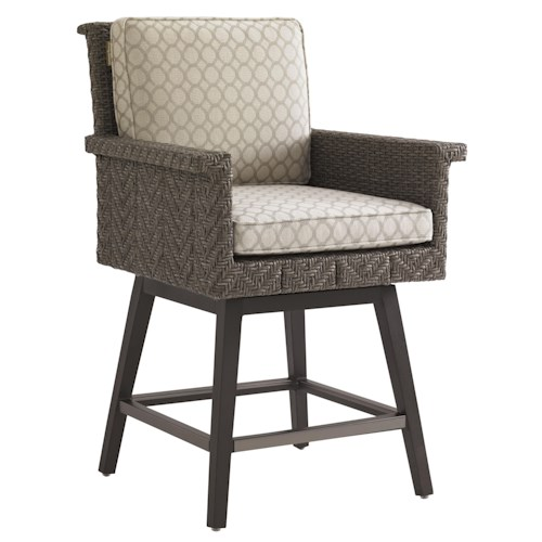 Tommy Bahama Outdoor Living Blue Olive Swivel Counter Stool with Cushion