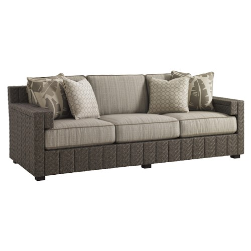Tommy Bahama Outdoor Living Blue Olive Track Arm Sofa with Cushion