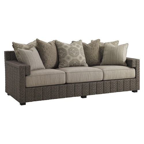 Tommy Bahama Outdoor Living Blue Olive Scatterback Sofa with Cushion