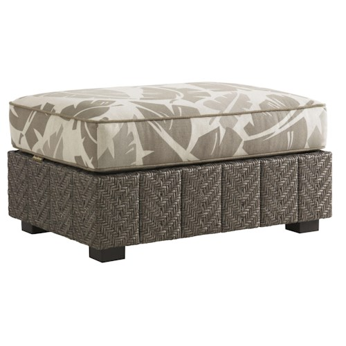 Tommy Bahama Outdoor Living Blue Olive Ottoman with Cushion