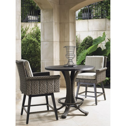 Tommy Bahama Outdoor Living Blue Olive Low Bistro Table & Swivel Chair Set