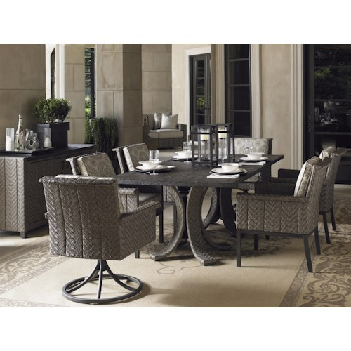 Tommy Bahama Outdoor Living Blue Olive Rectangular Dining Table & Chair Set