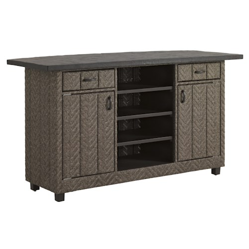 Tommy Bahama Outdoor Living Blue Olive Counter Height Bar w/ Weatherstone Top