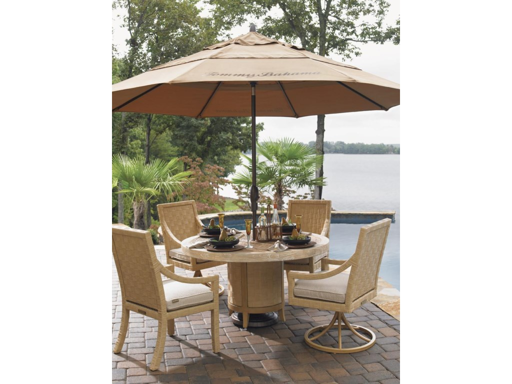 Shown with Dining Arm Chair, Swivel Rocker Dining Chair, and Umbrella (Not Included)
