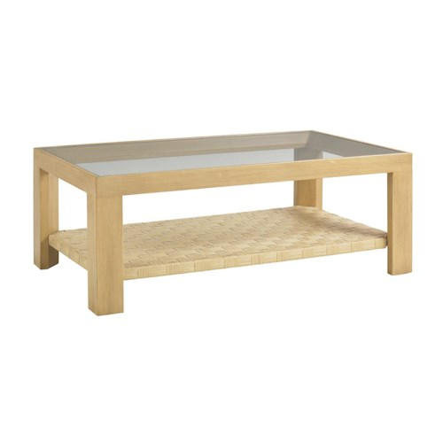 Tommy Bahama Outdoor Living Canberra Surf & Sand Tropical Outdoor Cocktail Table with Glass Insert